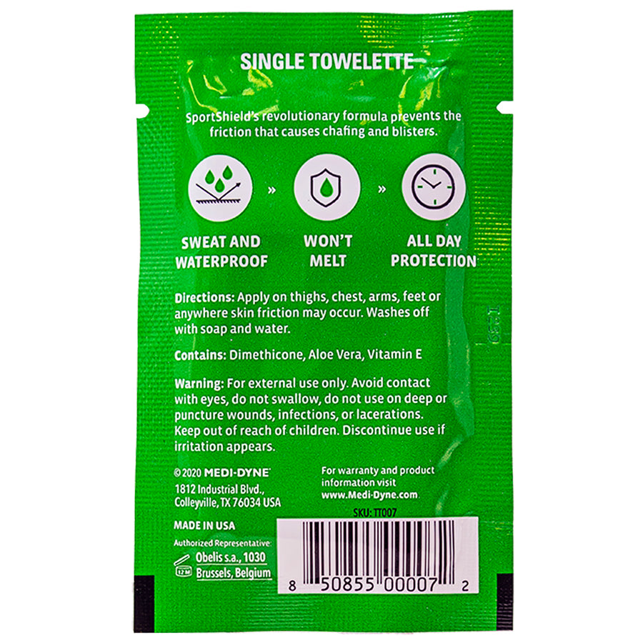 2Toms® SportShield® Single Towelette Travel Size