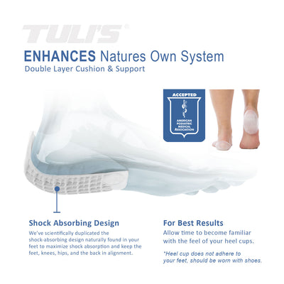 Tuli's Classic Gel Heel Cups, TuliGel Shock Absorbing design with double layer cushion and support, APMA Seal of acceptance