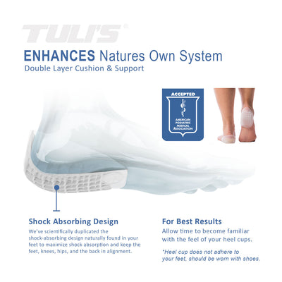 Tuli's Heavy Duty Gel Heel Cups, TuliGel Shock Absorbing design for plantar fasciitis, sever's disease, APMA seal of acceptance