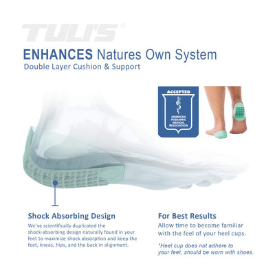 Tuli's Heavy Duty Heel Cups, Shock absorbing design for Plantar Facsiitis, Sever's Disease, with APMA logo of acceptance