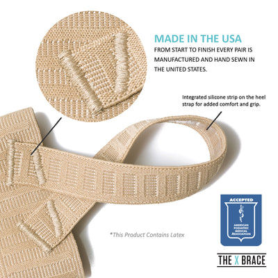 The Original X Brace for Sever's Disease, Plantar Fasciitis and heel Pain, logo free, with APMA seal of acceptance logo, made in usa