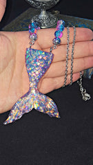 Iridescent Mermaid Tail Pendant