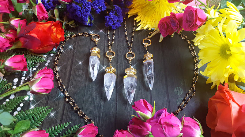 Cosmic Clear Quartz Crystal Dagger Necklace