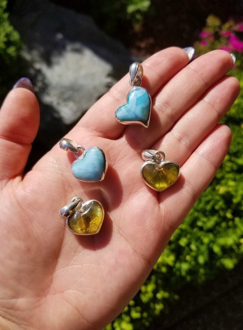 Larimar & Amber Heart Sterling Silver Necklace