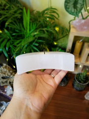 Selenite Crescent Moon Candle Holder