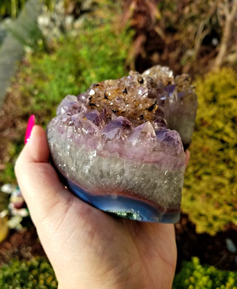 JUMBO Amethyst Moon #1 with Polished Agate Band