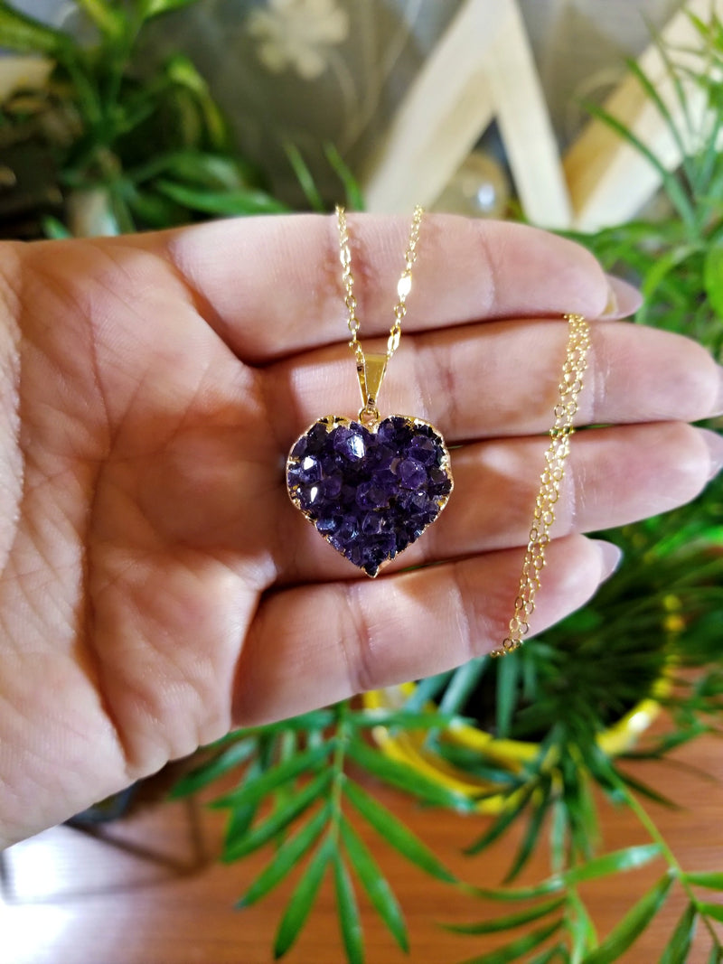 Amethyst Heart Necklace Electroplated 24k Gold Edge