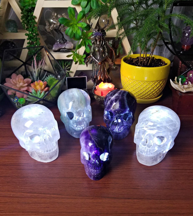 Extra Large Clear Quartz Skull Light/Lamp