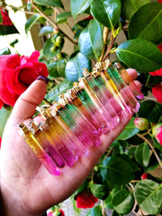 Watermelon Aura Quartz Point Pendants