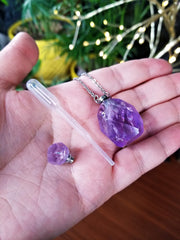 Lemon Quartz & Amethyst Crystal Perfume Bottle Pendants