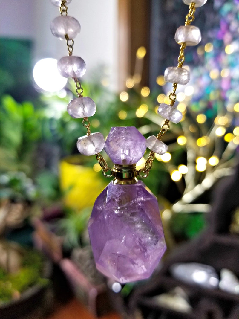 Amethyst Crystal Perfume Bottle with Rose Quartz Faceted Rosary Chain