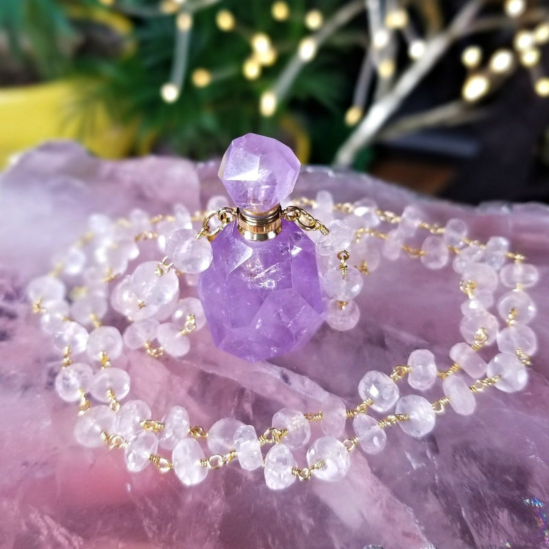 Clear Quartz Double Terminated Crystal Point Necklace with Rose Quartz Beads