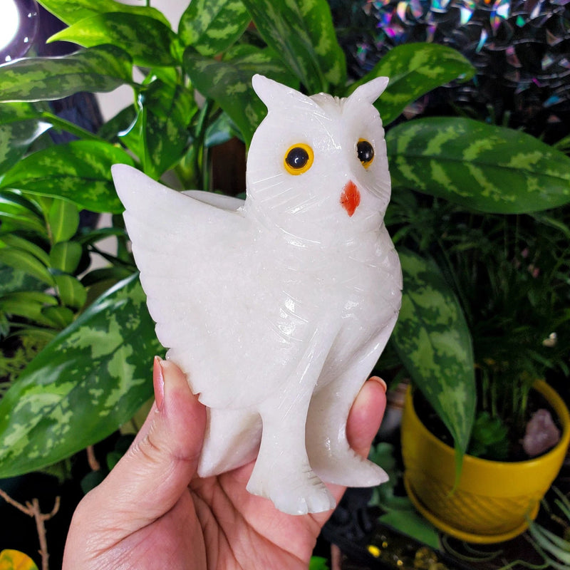 Large Beautiful White Calcite Owl Carving