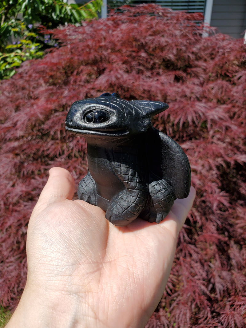 Large Obsidian Toothless Night Fury Dragon Carving