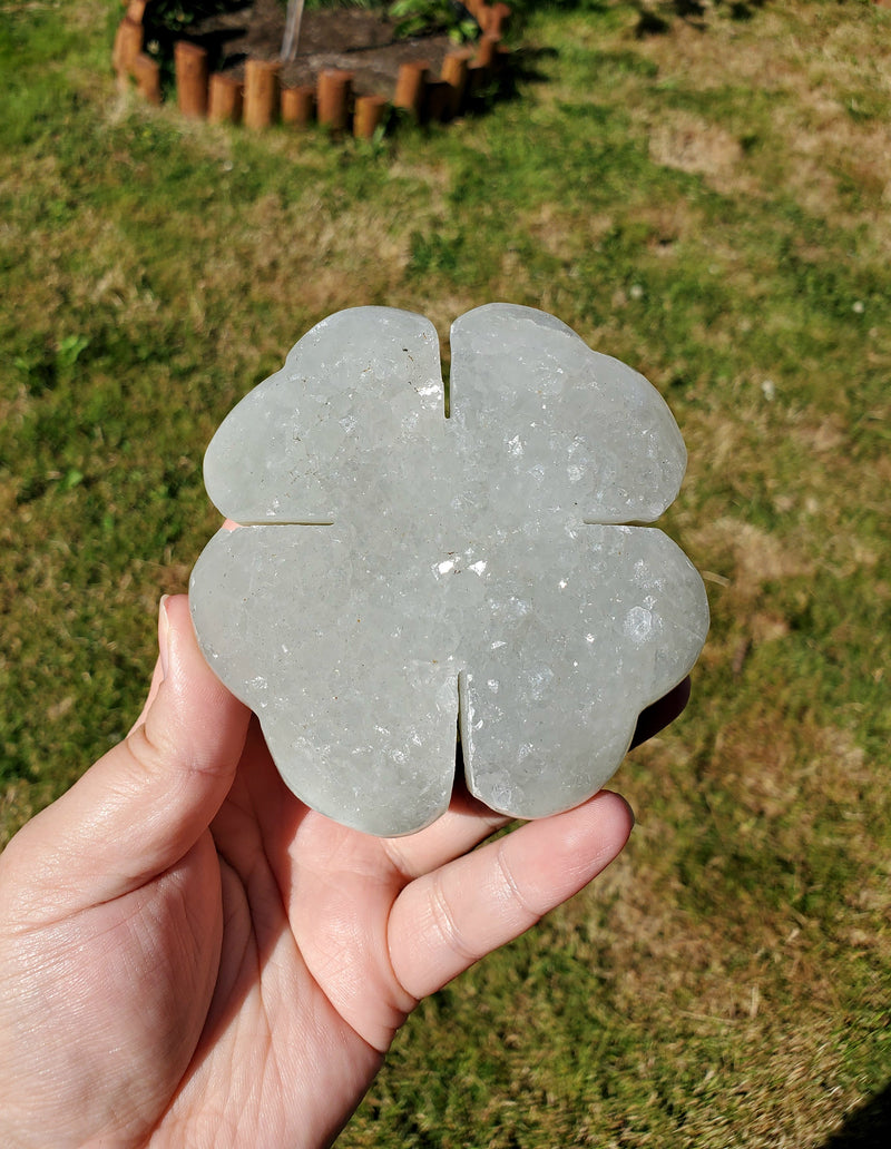 Large Quartz & Agate Four Leaf Clover from Uruguay