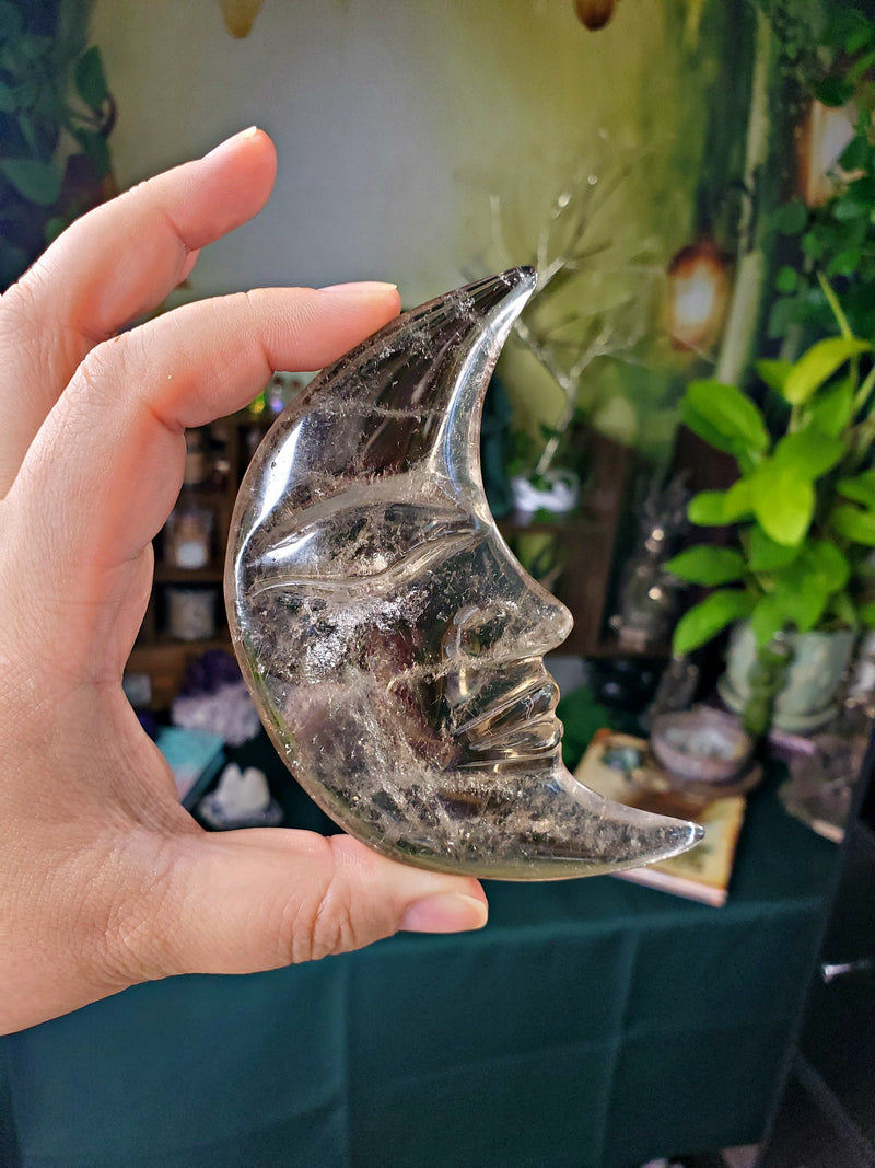 Large Crystal Crescent Moon Face