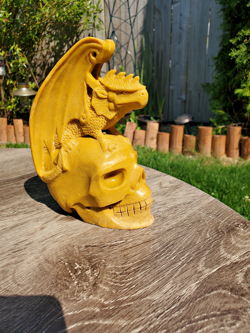 XL Natural Yellow Jade Skull with Dragon