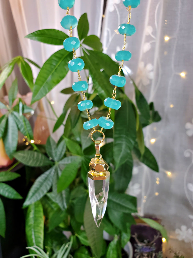 Cosmic Clear Quartz Point with Aqua Chalcedony Beaded Chain