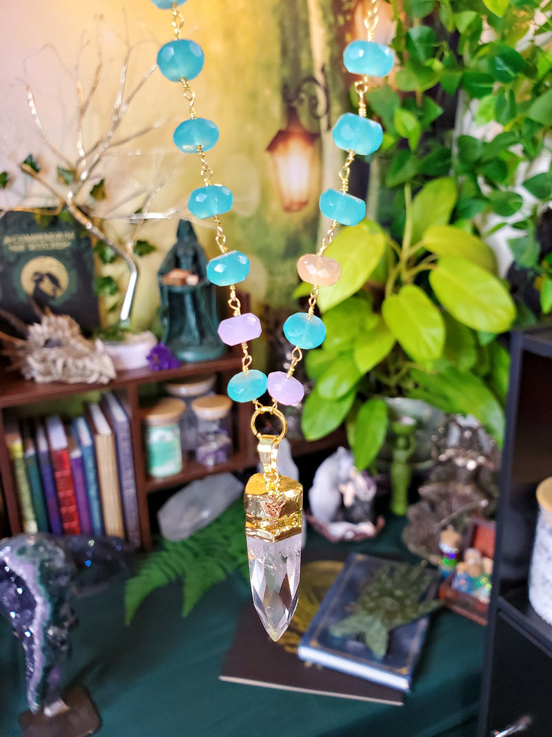 Cosmic Clear Quartz Point with Rainbow Chalcedony Beaded Chain