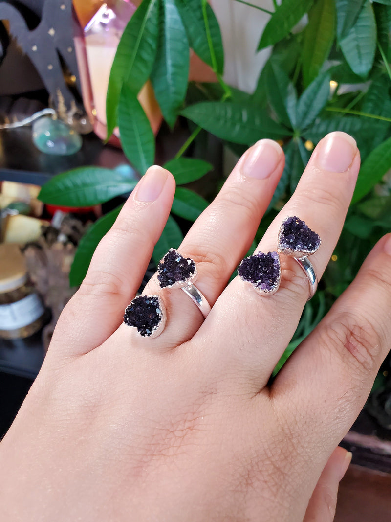 High Quality Double Amethyst Heart Ring Adjustable from Uruguay