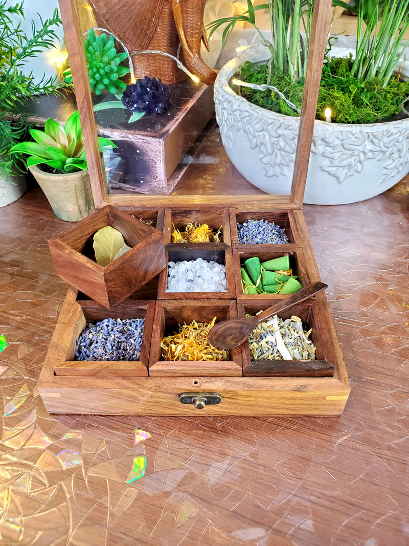 Rosewood Spices & Herbs Box with Removable Compartments