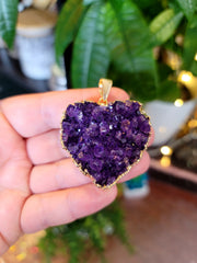 Large Amethyst Heart Necklace from Uruguay Electroplated 24k Gold Edge