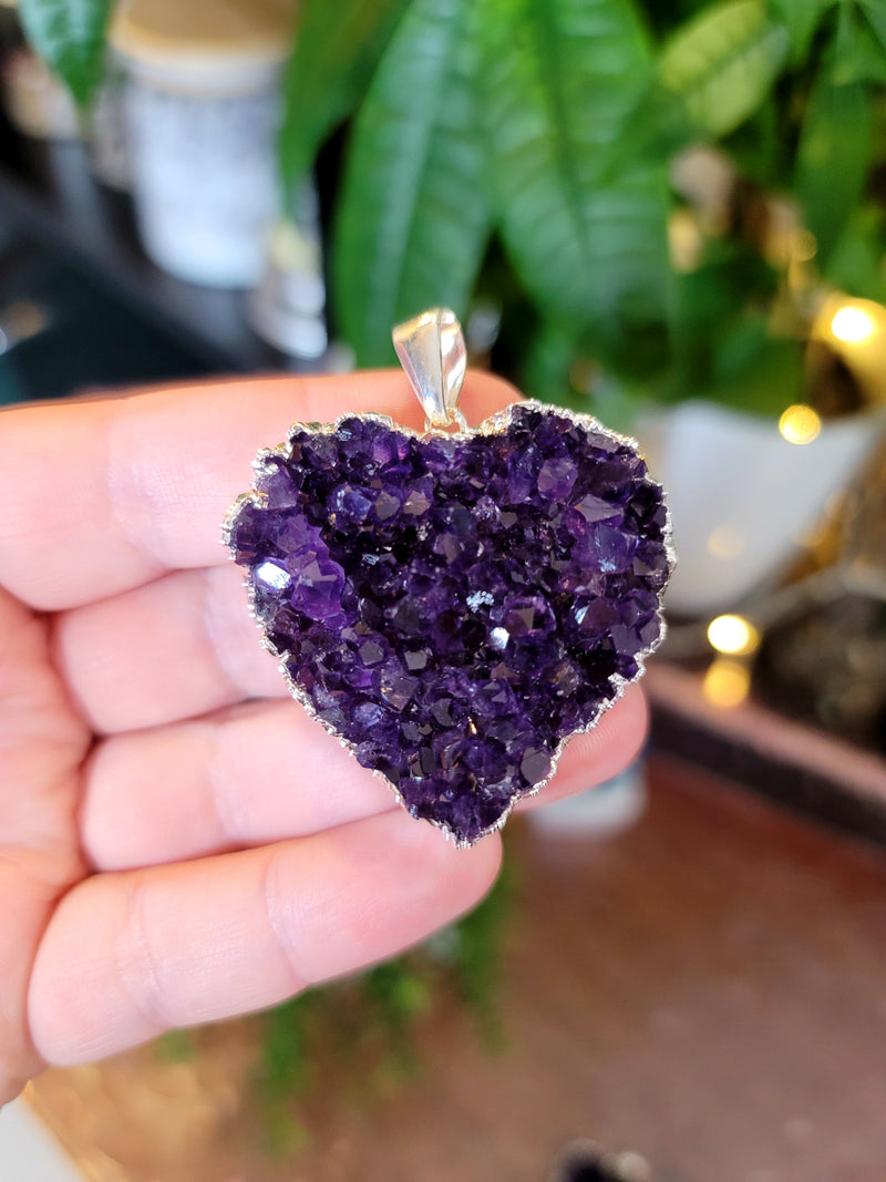 Large Amethyst Heart Necklace from Uruguay Electroplated Silver Edge