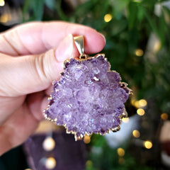 Statement Piece Lavender Amethyst Flower Pendant Electroformed in 24K Gold