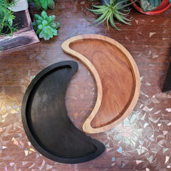 Large Crescent Moon Wooden Tray  (Rounded Tips)