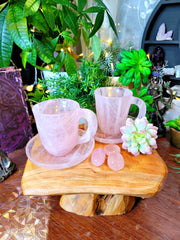 Rose Quartz Crystal Teacup Set