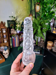 Realistic Carving Clear Quartz Penis with Veins