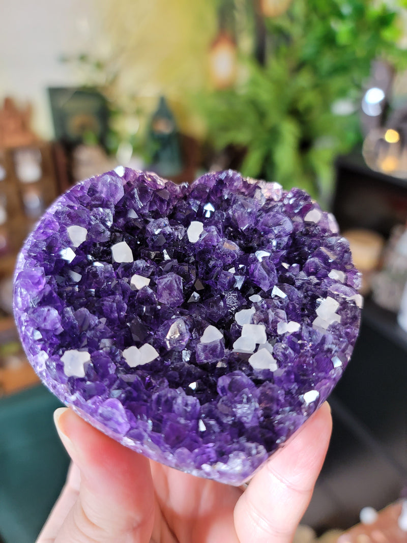 Deep Purple Amethyst Heart with Calcite Cubes from Uruguay