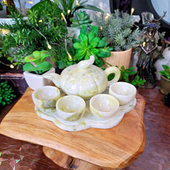 Lantian Jade Tea Set - Nephrite Jade - Pumpkin Shaped Tea Pot with 4 Cups