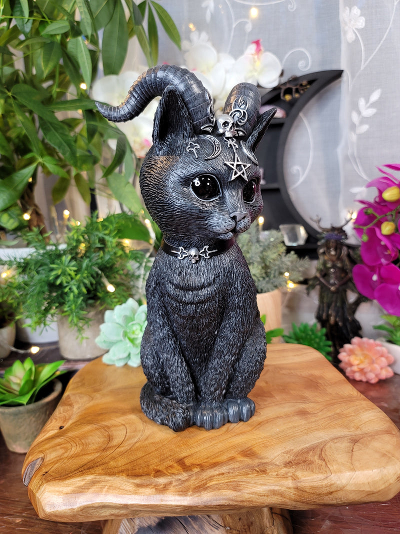 Large Pawzuph 26.5cm Horned Occult Black Cat