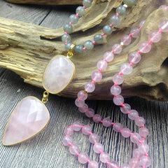 Rose Quartz Necklace w/Labradorite & Rose Quartz Beads