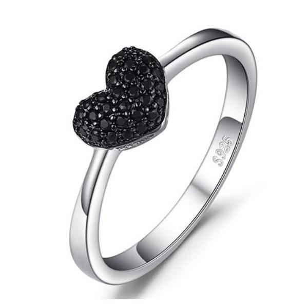 Natural Black Spinel Heart Ring