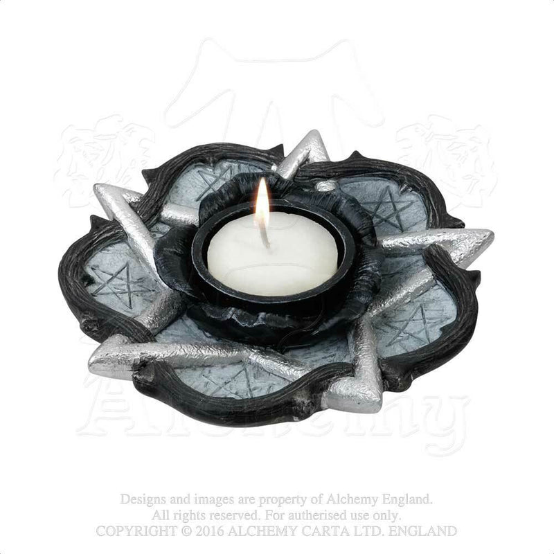 Pentagram & Rose T-Light Candle Holder
