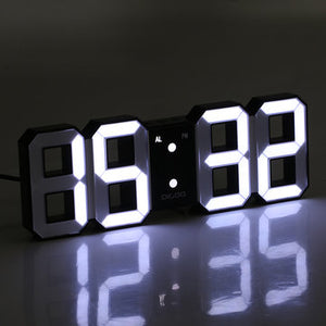 Large 3D LED Digital Wall Clock Alarm Clock With Snooze Function 12/24 Hour Display