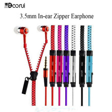 Colorful Zipper Earphones 3.5mm In-Ear Stereo Earbuds with Mic