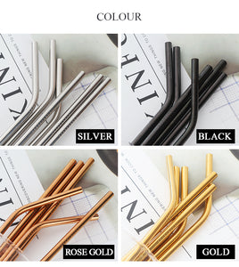 Metal Drinking Straws - Reusable with Cleaning Brush