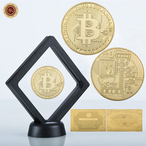 Bitcoin Gold Plated Collectible Coins with Display Stand