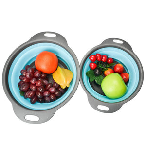 Foldable Silicone Colanders - 2 pcs (2 Sizes)