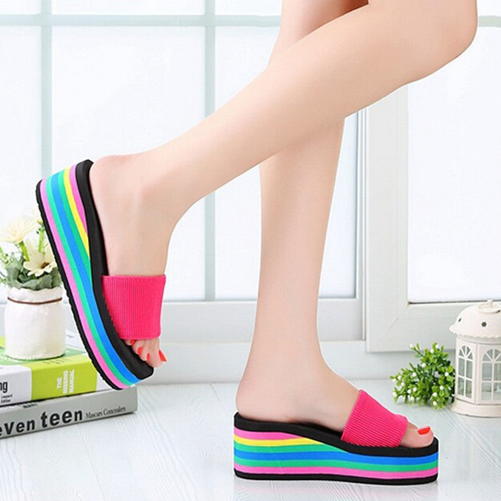 e14c32ab4 2018 Summer Woman Shoes Platform bath slippers Women Rainbow Summer Non-Slip  Sandals Female Beach ...