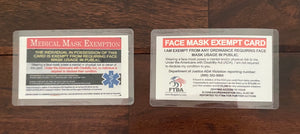 Mask Exemption Card, dual sided (card or lanyard style)