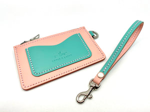 Zipper Pouch ~ Sea Foam & Vintage Pink