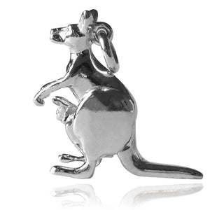 Kangaroo Charm with Moving Joey Sterling Silver or Gold | Silver Star Charms