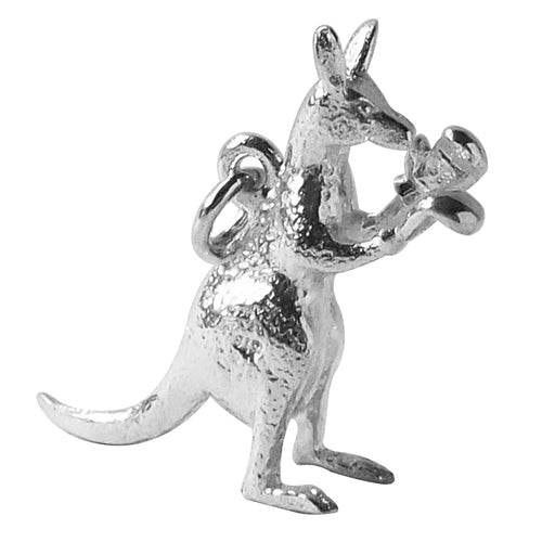 Kangaroo boxing charm sterling silver or gold pendant