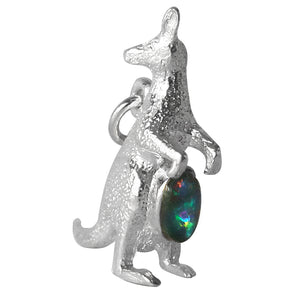 Kangaroo charm with opal sterling silver or gold pendant