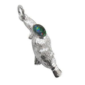 Platypus charm with opal sterling silver or gold pendant