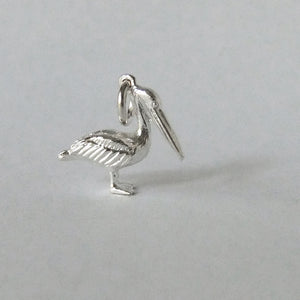 Pelican charm sterling silver or gold pendant